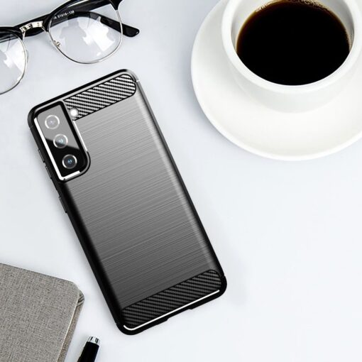 Samsung S21 umbris silikoonist Carbon must 5