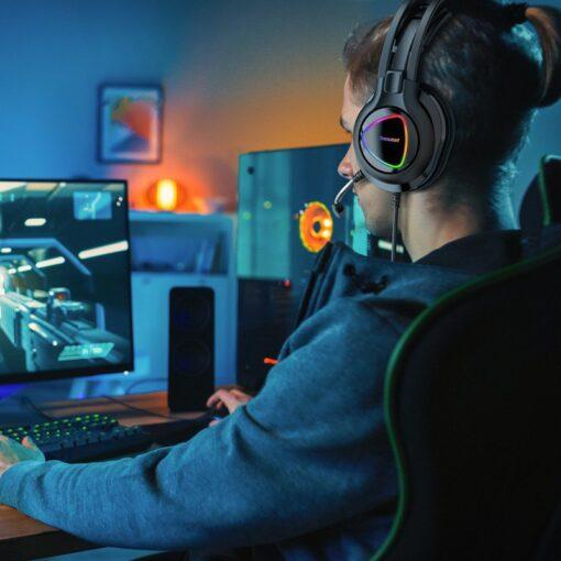 Tronsmart Glary Alpha Gaming RGB korvaklapid mikrofoni ja juhtpuldiga 3.5mm liides 7