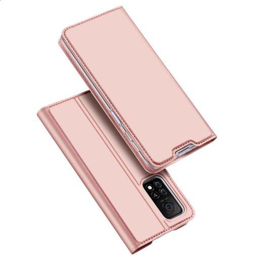 Xiaomi Mi 10T Pro Mi 10T kunstnahast kaaned DUX DUCIS Skin Pro Bookcase roosa