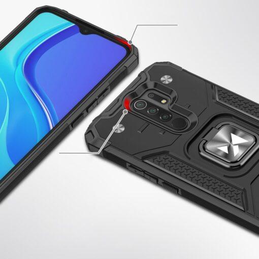 Xiaomi Redmi 9 tugev umbris Ring Armor plastikust taguse ja silikoonist nurkadega must 1