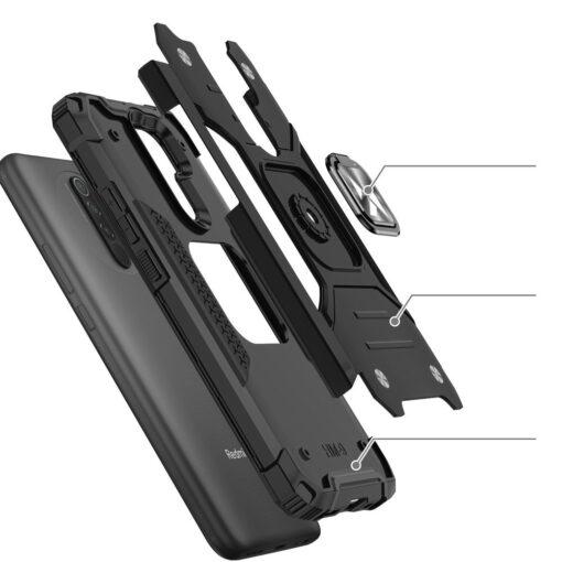 Xiaomi Redmi 9 tugev umbris Ring Armor plastikust taguse ja silikoonist nurkadega must 2