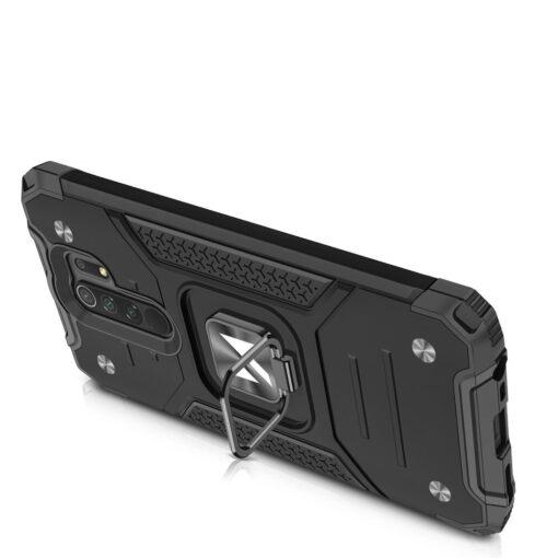 Xiaomi Redmi 9 tugev umbris Ring Armor plastikust taguse ja silikoonist nurkadega must 3