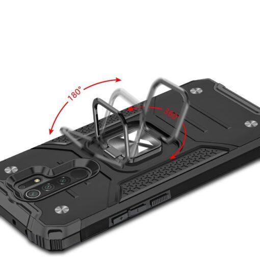 Xiaomi Redmi 9 tugev umbris Ring Armor plastikust taguse ja silikoonist nurkadega must 4