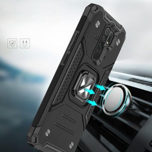 Xiaomi Redmi 9 tugev umbris Ring Armor plastikust taguse ja silikoonist nurkadega must 5