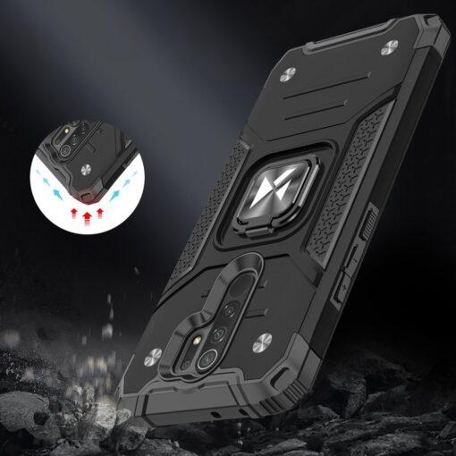 Xiaomi Redmi 9 tugev umbris Ring Armor plastikust taguse ja silikoonist nurkadega must 6