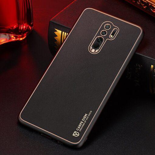 Xiaomi Redmi 9 umbris Dux Ducis Yolo elegant kunstnahast ja silikoonist servadega must 13