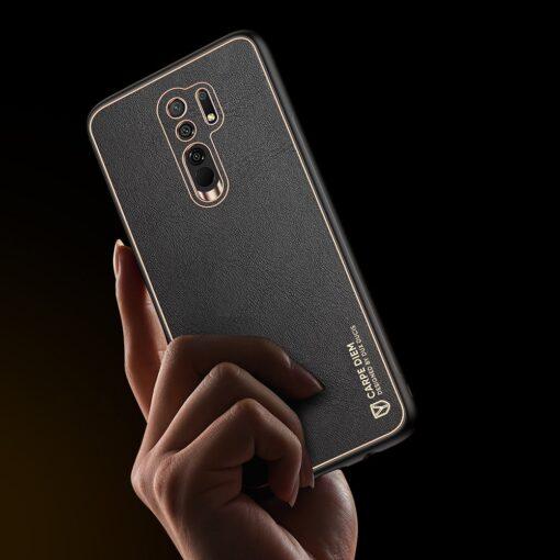 Xiaomi Redmi 9 umbris Dux Ducis Yolo elegant kunstnahast ja silikoonist servadega must 7