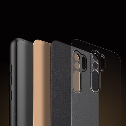 Xiaomi Redmi 9 umbris Dux Ducis Yolo elegant kunstnahast ja silikoonist servadega must 8