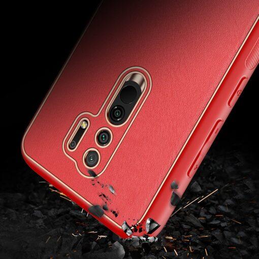 Xiaomi Redmi 9 umbris Dux Ducis Yolo elegant kunstnahast ja silikoonist servadega punane 10