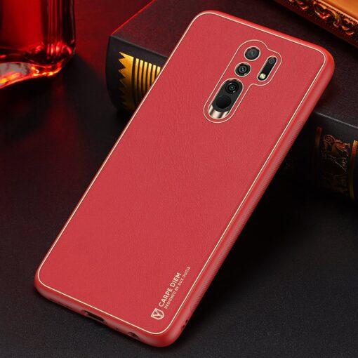 Xiaomi Redmi 9 umbris Dux Ducis Yolo elegant kunstnahast ja silikoonist servadega punane 13