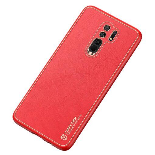 Xiaomi Redmi 9 umbris Dux Ducis Yolo elegant kunstnahast ja silikoonist servadega punane 3