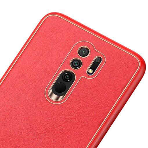 Xiaomi Redmi 9 umbris Dux Ducis Yolo elegant kunstnahast ja silikoonist servadega punane 5