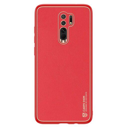 Xiaomi Redmi 9 umbris Dux Ducis Yolo elegant kunstnahast ja silikoonist servadega punane
