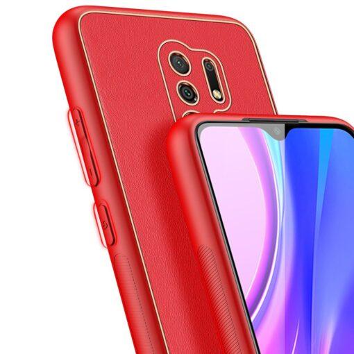 Xiaomi Redmi 9 umbris Dux Ducis Yolo elegant kunstnahast ja silikoonist servadega punane 6