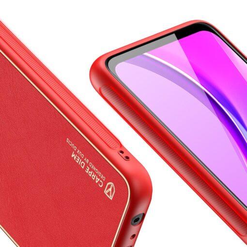 Xiaomi Redmi 9 umbris Dux Ducis Yolo elegant kunstnahast ja silikoonist servadega punane 7