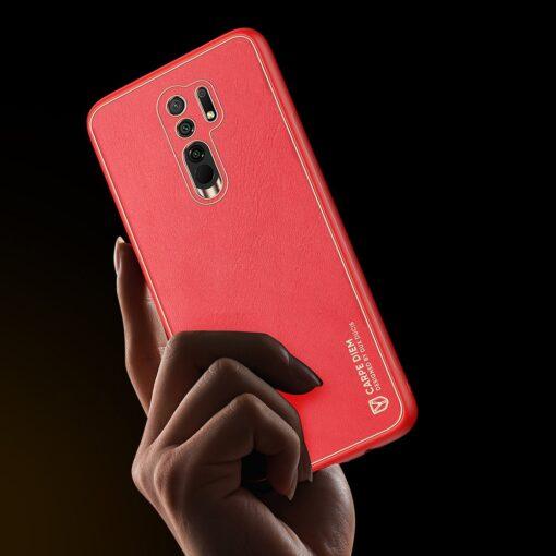 Xiaomi Redmi 9 umbris Dux Ducis Yolo elegant kunstnahast ja silikoonist servadega punane 8