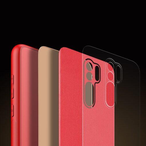 Xiaomi Redmi 9 umbris Dux Ducis Yolo elegant kunstnahast ja silikoonist servadega punane 9