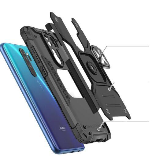 Xiaomi Redmi Note 8 Pro tugev umbris Ring Armor plastikust taguse ja silikoonist nurkadega must 2