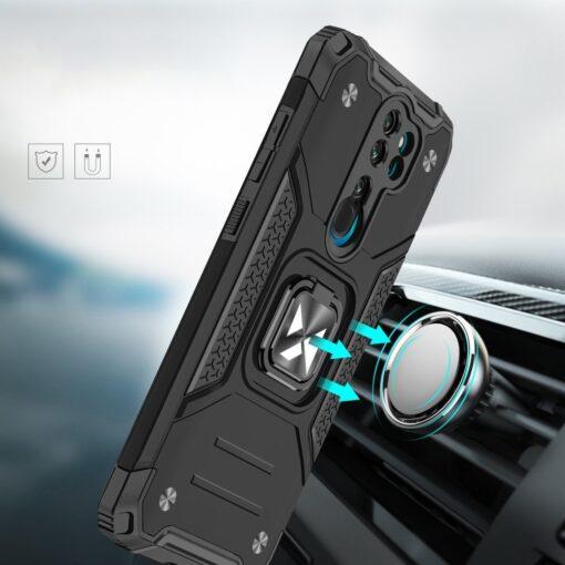 Xiaomi Redmi Note 8 Pro tugev umbris Ring Armor plastikust taguse ja silikoonist nurkadega must 5