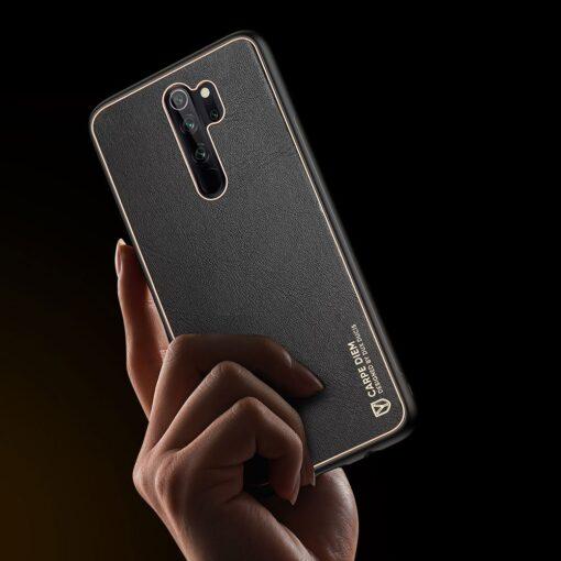 Xiaomi Redmi Note 8 umbris Dux Ducis Yolo elegant kunstnahast ja silikoonist servadega must 8