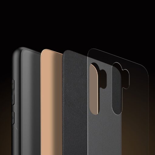 Xiaomi Redmi Note 8 umbris Dux Ducis Yolo elegant kunstnahast ja silikoonist servadega must 9