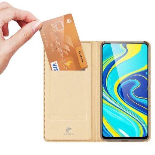 Xiaomi Redmi Note 9 Pro kunstnahast kaaned DUX DUCIS Skin Pro Bookcase kuldne 1