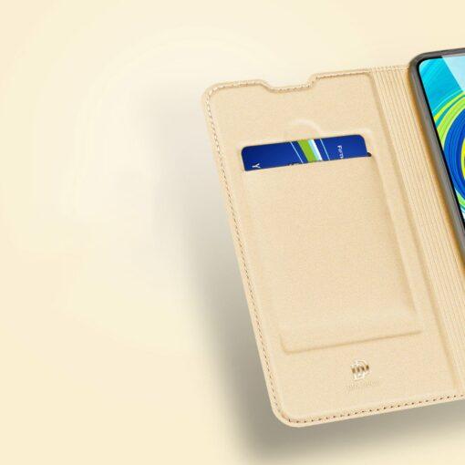 Xiaomi Redmi Note 9 Pro kunstnahast kaaned DUX DUCIS Skin Pro Bookcase kuldne 12