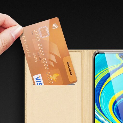 Xiaomi Redmi Note 9 Pro kunstnahast kaaned DUX DUCIS Skin Pro Bookcase kuldne 16