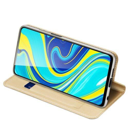 Xiaomi Redmi Note 9 Pro kunstnahast kaaned DUX DUCIS Skin Pro Bookcase kuldne 4