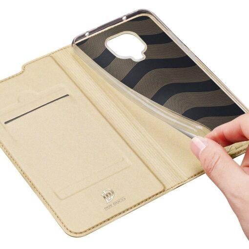 Xiaomi Redmi Note 9 Pro kunstnahast kaaned DUX DUCIS Skin Pro Bookcase kuldne 6