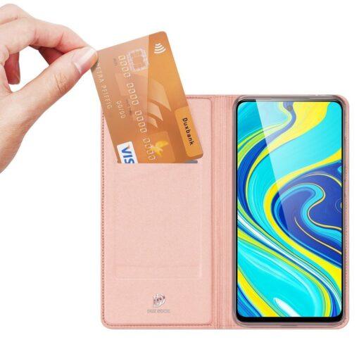 Xiaomi Redmi Note 9 Pro kunstnahast kaaned DUX DUCIS Skin Pro Bookcase roosa 1
