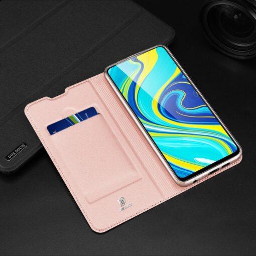 Xiaomi Redmi Note 9 Pro kunstnahast kaaned DUX DUCIS Skin Pro Bookcase roosa 22