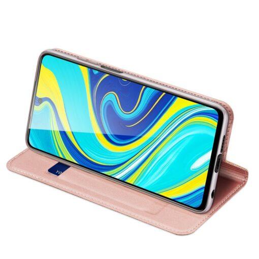 Xiaomi Redmi Note 9 Pro kunstnahast kaaned DUX DUCIS Skin Pro Bookcase roosa 4