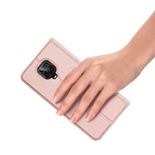 Xiaomi Redmi Note 9 Pro kunstnahast kaaned DUX DUCIS Skin Pro Bookcase roosa 5