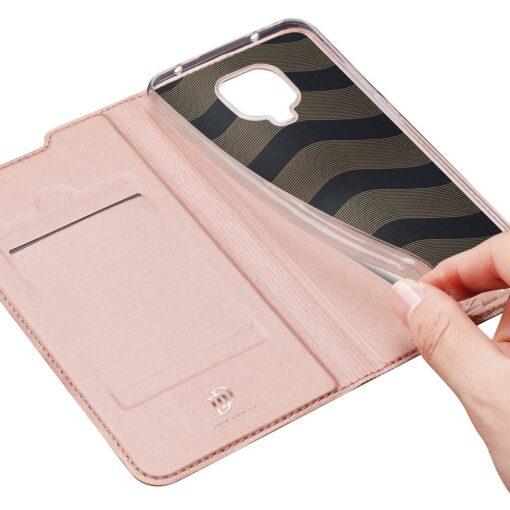 Xiaomi Redmi Note 9 Pro kunstnahast kaaned DUX DUCIS Skin Pro Bookcase roosa 6
