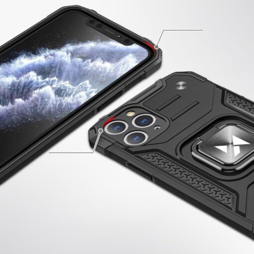 iPhone 11 Pro Max tugev umbris Ring Armor plastikust taguse ja silikoonist nurkadega must 1