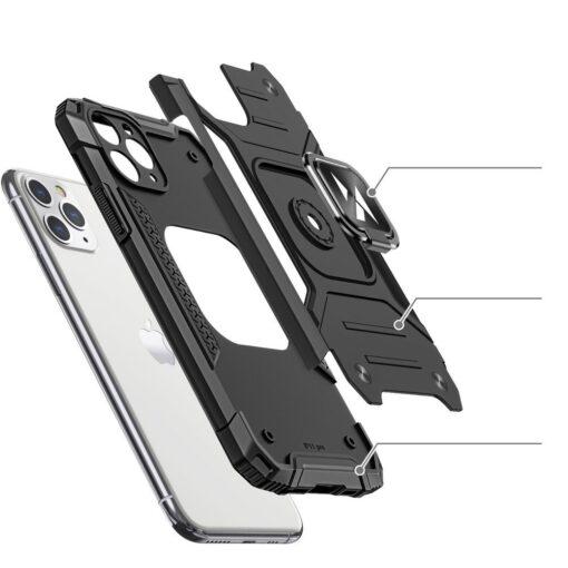 iPhone 11 Pro Max tugev umbris Ring Armor plastikust taguse ja silikoonist nurkadega must 2