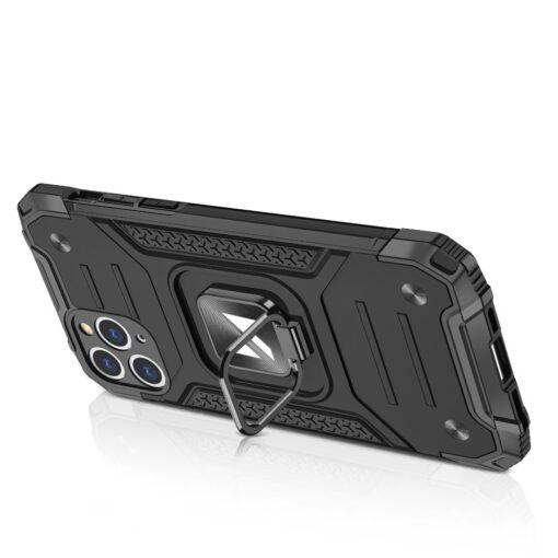 iPhone 11 Pro Max tugev umbris Ring Armor plastikust taguse ja silikoonist nurkadega must 3