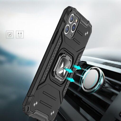 iPhone 11 Pro Max tugev umbris Ring Armor plastikust taguse ja silikoonist nurkadega must 5