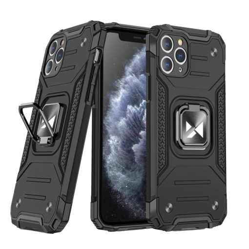 iPhone 11 Pro Max tugev umbris Ring Armor plastikust taguse ja silikoonist nurkadega must