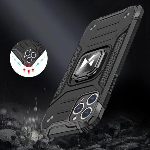 iPhone 11 Pro Max tugev umbris Ring Armor plastikust taguse ja silikoonist nurkadega must 6