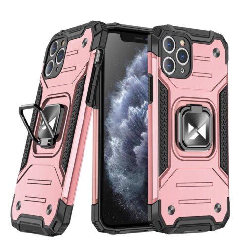 iPhone 11 Pro Max tugev umbris Ring Armor plastikust taguse ja silikoonist nurkadega roosa
