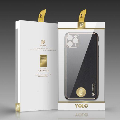 iPhone 11 Pro Max umbris Dux Ducis Yolo elegant kunstnahast ja silikoonist servadega must 4