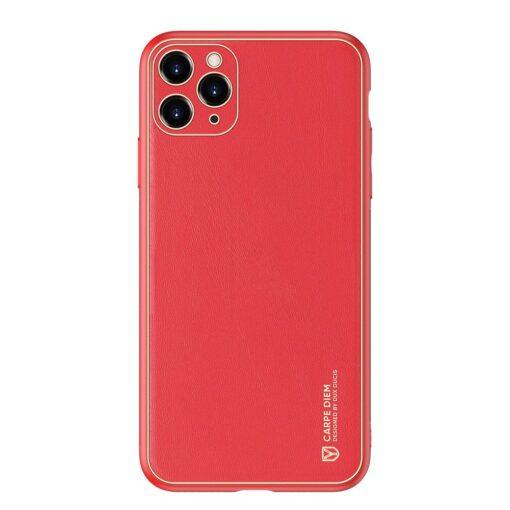 iPhone 11 Pro Max umbris Dux Ducis Yolo elegant kunstnahast ja silikoonist servadega punane 12