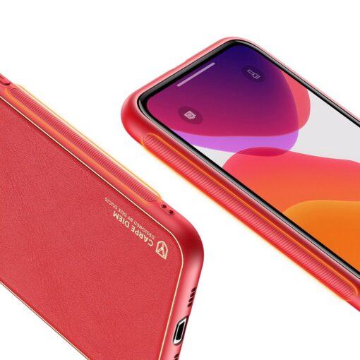 iPhone 11 Pro Max umbris Dux Ducis Yolo elegant kunstnahast ja silikoonist servadega punane 5