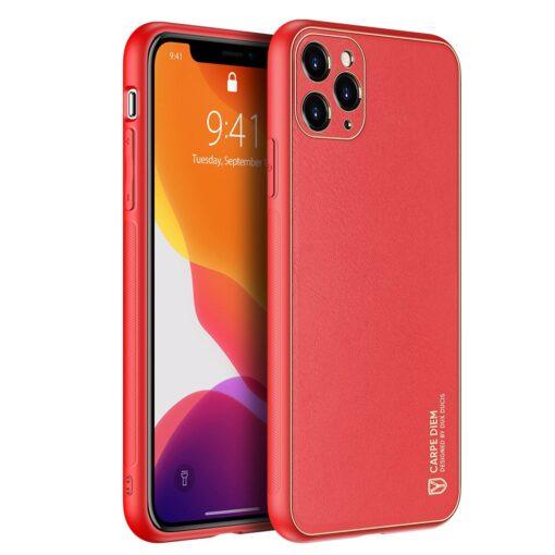 iPhone 11 Pro Max umbris Dux Ducis Yolo elegant kunstnahast ja silikoonist servadega punane