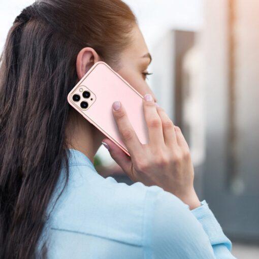 iPhone 11 Pro Max umbris Dux Ducis Yolo elegant kunstnahast ja silikoonist servadega roosa 10