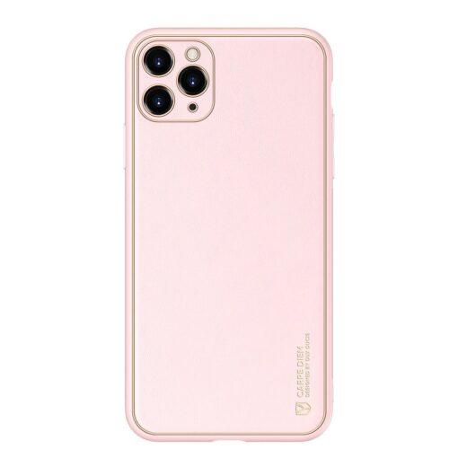 iPhone 11 Pro Max umbris Dux Ducis Yolo elegant kunstnahast ja silikoonist servadega roosa 12