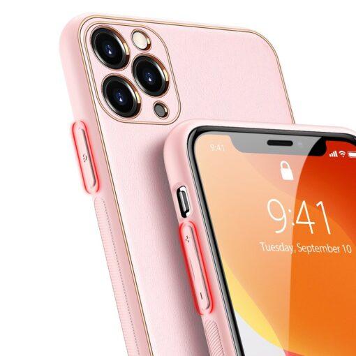 iPhone 11 Pro Max umbris Dux Ducis Yolo elegant kunstnahast ja silikoonist servadega roosa 2