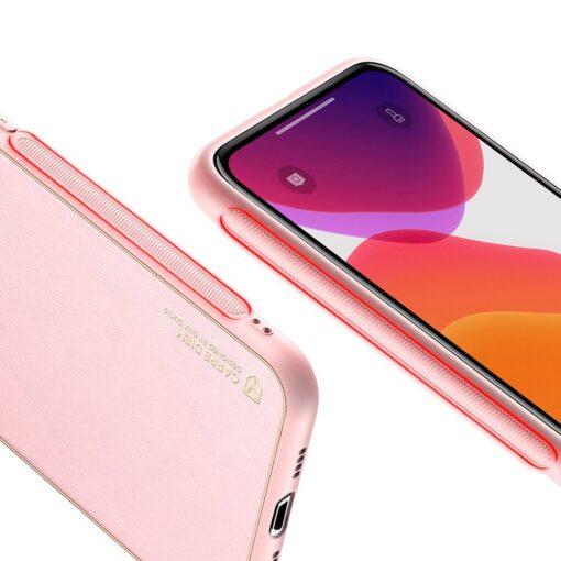 iPhone 11 Pro Max umbris Dux Ducis Yolo elegant kunstnahast ja silikoonist servadega roosa 3